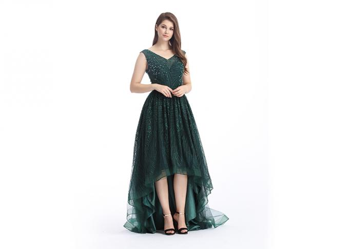 Green Custom Size Arabic Long Evening Dresses , Soft Handfeeling Arabic Lace Dresses