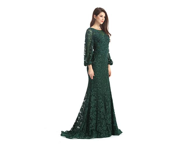 Army Green Long Sleeve European Style Evening Dresses For Beautiful Girls And Woman