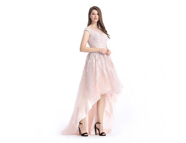 Pink Lace Grace European Evening Gowns , Lace Evening Dresses For ...