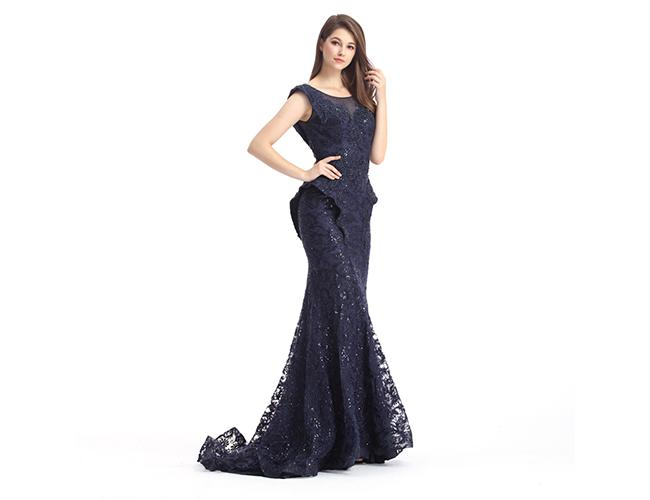 Navy Blue Beaded Mermaid Middle Eastern Evening Dresses Sleeveless For Woman