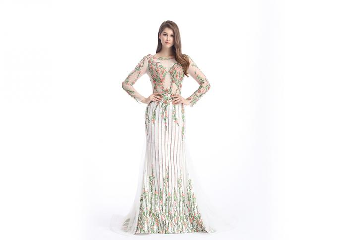 Sheer Prom Celebrity Lace Appliques Long Sleeve Evening Gowns Anti - Wrinkle