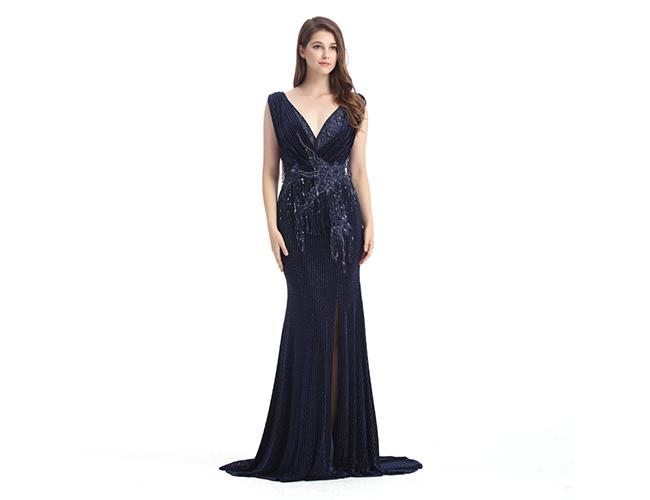 Deep V Neck Long Sequined Pretty Prom Dresses Europe Style Evening Dress