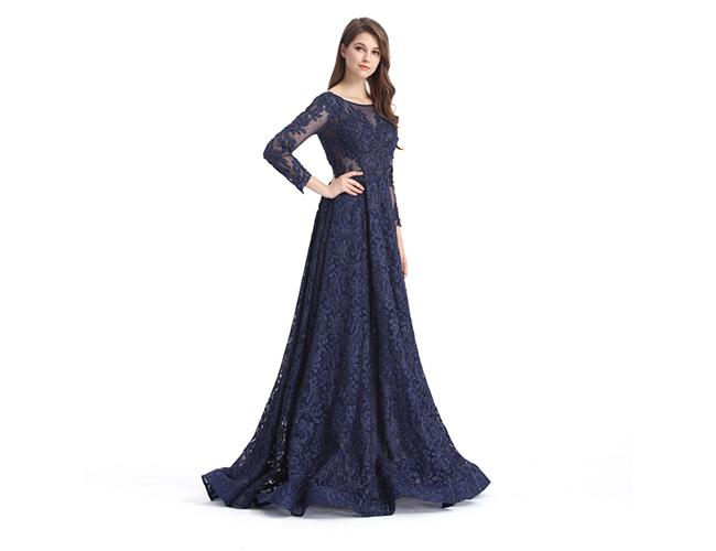 Dark Blue Illusion Backless Long Sleeve Occasion Dresses For Women Party