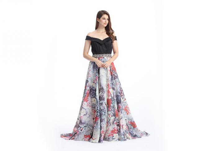 Ladies A Line Evening Dress  , Beaded Off - Shoulder Chiffon Evening Dresses