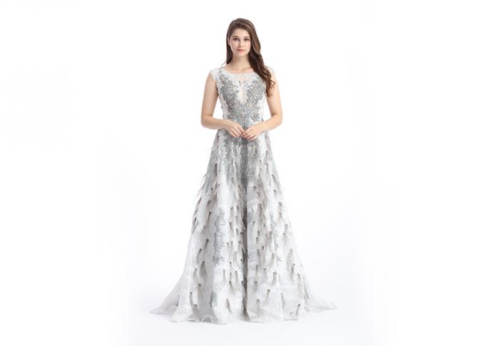 Unique Design Stunning Evening Dresses , Anti - Static V Neck Beaded Evening Dress