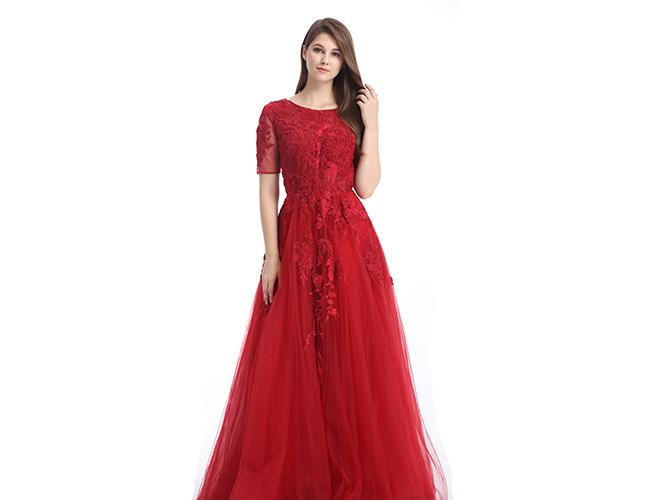 Tulle Fabric Big Red Wedding Dresses Half Sleeve Mermaid Spaghetti Strap
