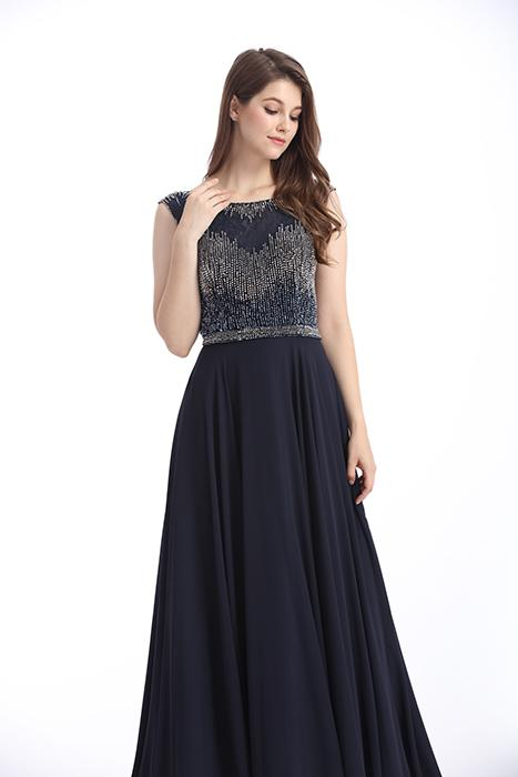 Beaded Embroidered Formal Evening Dresses , Flower Embroidery Evening Dresses For Women