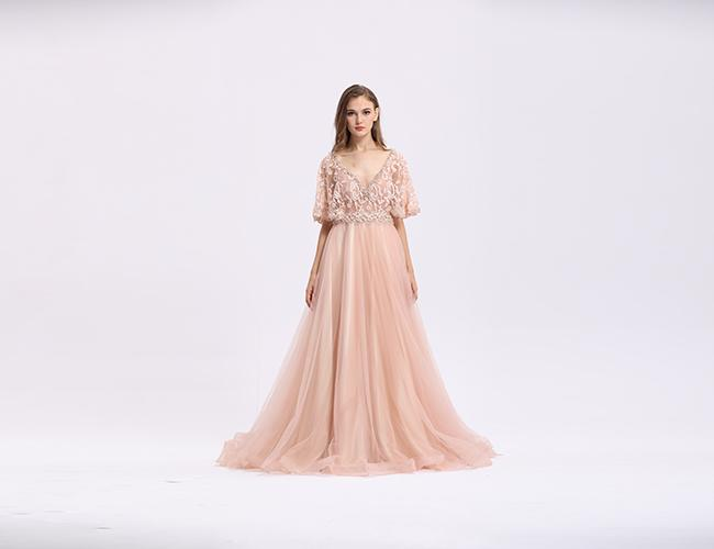 A - Line Half Sleeve Long Dresses , Lace Formal Dresses For Slim Woman