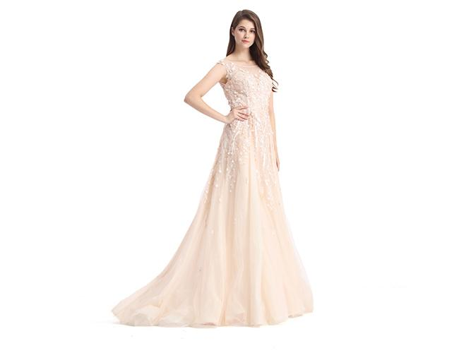 Organza Fabric Champagne Bridesmaid Dresses Long Europe Style Evening Dress