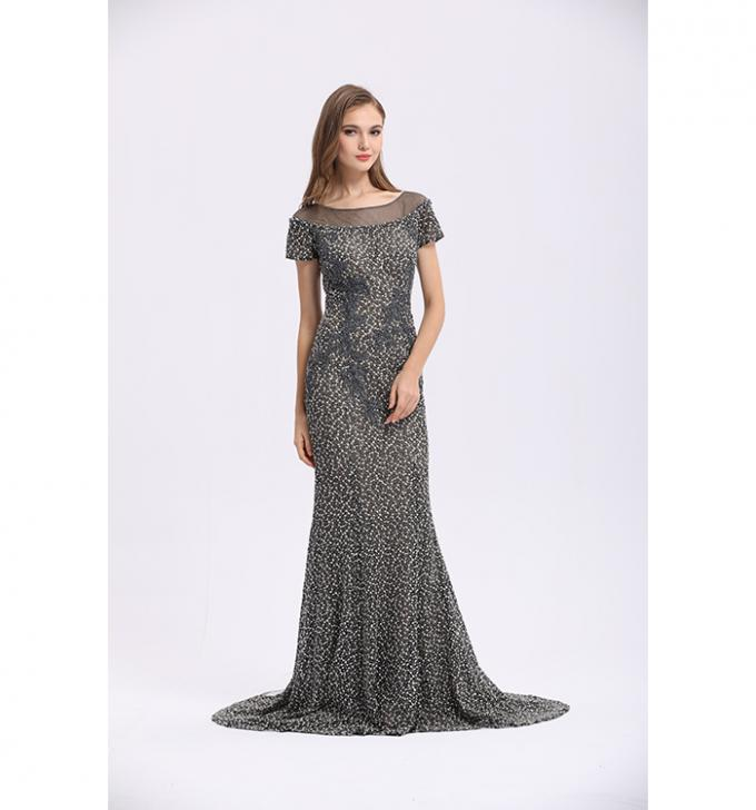 Women ' S Mermaid Elegant Long Sleeve Evening Dresses Lace V - Neck Dress For Party Gowns