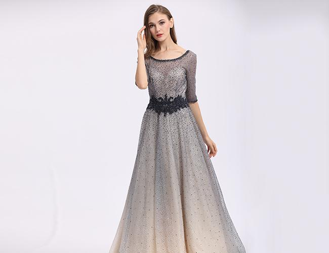 Black Lace Evening Dresses , Slim Ladies Cocktail Half Sleeve Evening Dresses