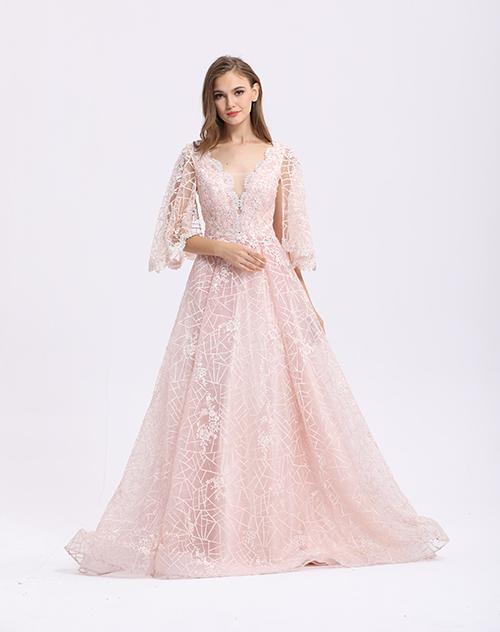Pink Elegant A - Line Half Sleeve Evening Dresses With Detachable Train