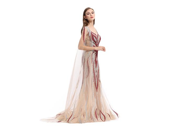 High End Custom Tulle Fabric Ladies Evening Dresses Sweep Train Type With Cloak
