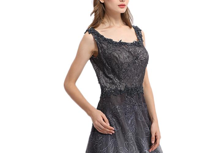 Scoop Neck Organza Material Ladies Evening Dresses Women Party Dress