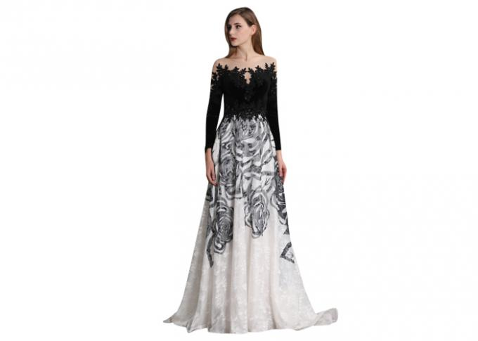 Black And White Sweep Train Long Sleeve Evening Gowns For Autumn And Spring