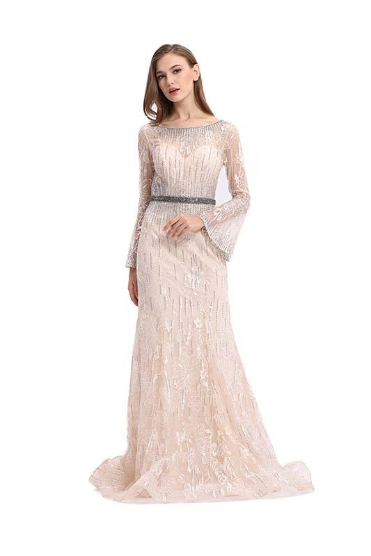 Anti - Wrinkle Breathable Long Sleeve Long Prom Dresses 100% Polyester