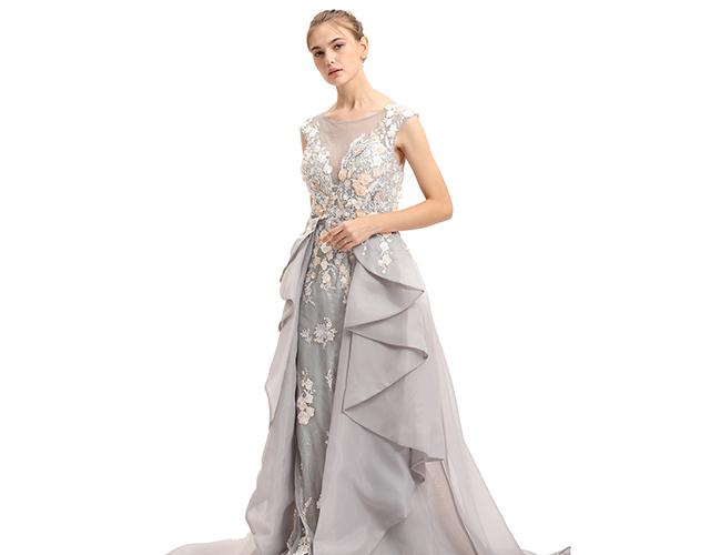 Embroidery Flower Sleeveless Evening Dress / Wave - Like Shape Wedding Bridesmaid Dress