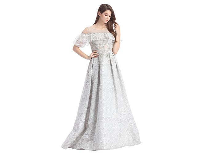 Floor Length Long Sleeve Muslim Lace Prom Dress / Party Dresses For Women