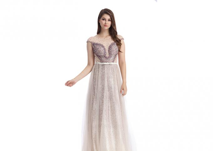 Luxury Dusty Pink Prom Party Dress / Backless V Neck Arabic Bridesmaid Dresses