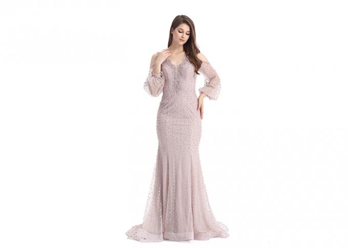 Lace Fabric Beaded Long Sleeve Evening Gowns / Mermaid Muslim Evening Dress