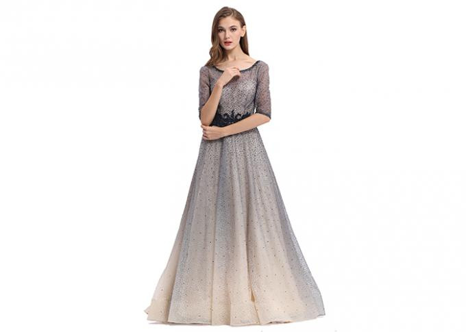 Strapless Ladies Sleeveless Evening Dress / European Style Party Wear Gown