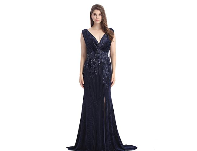Sliver Lace Material Muslim Evening Dress / Strapless Maxi Prom Dress
