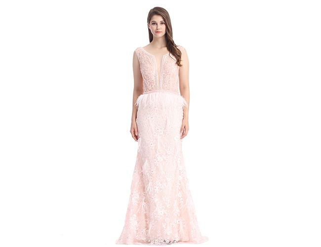 Apricot Coloured Sleeveless Evening Dress / Long Style Beading Ball Gowns
