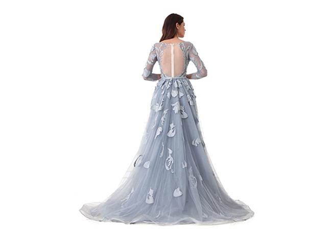 Backless Sexy Tulle Long Sleeve Evening Gowns Built - In Bra Light Blue