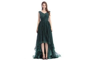 China Elegant V Neck Applique Beautiful Prom Dresses Soft And Romantic For Wedding supplier