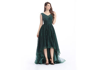 China Green Custom Size Arabic Long Evening Dresses , Soft Handfeeling Arabic Lace Dresses supplier