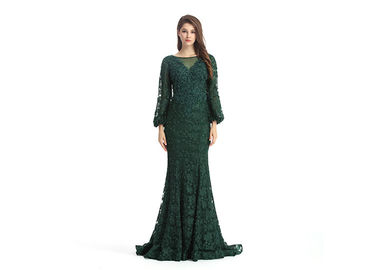China Army Green Long Sleeve European Style Evening Dresses For Beautiful Girls And Woman supplier