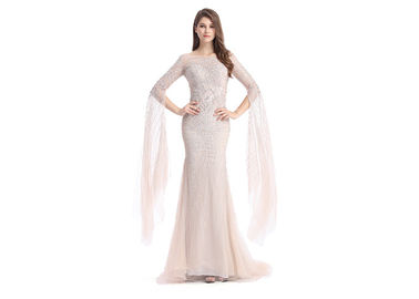 China Long Sleeve Backless Middle Eastern Evening Gowns Tulle Fabric Beading supplier