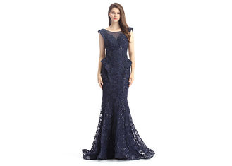 China Navy Blue Beaded Mermaid Middle Eastern Evening Dresses Sleeveless For Woman supplier