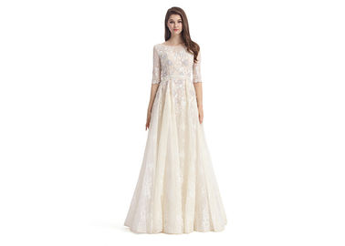 China Floral Lace Maxi Ivory Evening Dresses O - Neck Women'S Evening Dresses With Sleeves supplier