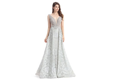 Deep V Neck Embroidery Womens Long Evening Dresses For Arabic Big Ball Gown