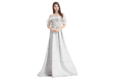 China Embroidery Fabric Grey Color Prom Party Dress Evening Dress For Women supplier