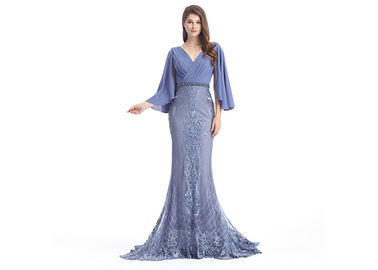 Fashion ladies half sleeve evening dresses mermaid sleeves applique
