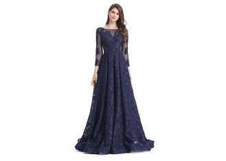 China Dark Blue Illusion Backless Long Sleeve Occasion Dresses For Women Party supplier