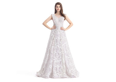 China Grace White Lace Embroidery Simple Elegant Wedding Dresses Sleeveless U - Neck supplier
