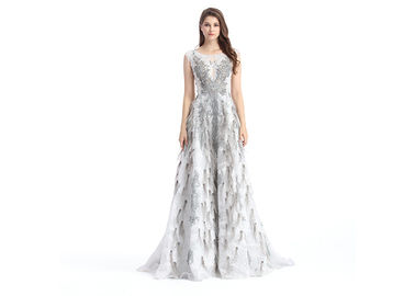 China Unique Design Stunning Evening Dresses , Anti - Static V Neck Beaded Evening Dress supplier