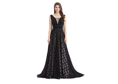 China Women V - Neck Long Beautiful Evening Gowns , Custom Size Natural Waistline Lace Evening Gowns supplier