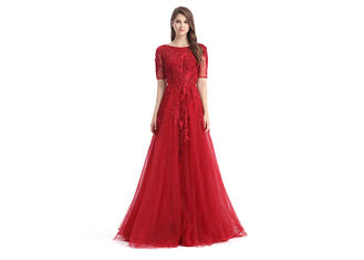 China Tulle Fabric Big Red Wedding Dresses Half Sleeve Mermaid Spaghetti Strap supplier