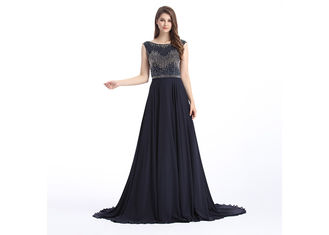 China Beaded Embroidered Formal Evening Dresses , Flower Embroidery Evening Dresses For Women supplier