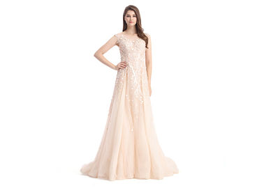 China Organza Fabric Champagne Bridesmaid Dresses Long Europe Style Evening Dress supplier