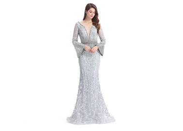 China Mandarin Sleeve V Neck Sexy Long Sleeve Lace Formal Dress Floor Length supplier