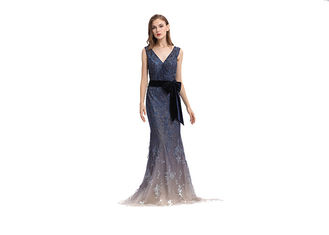 China Embroidery Beaded Dark Blue Evening Dress , Mermaid Maxi Long Evening Dresses supplier