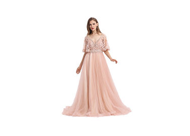 China A - Line Half Sleeve Long Dresses , Lace Formal Dresses For Slim Woman supplier