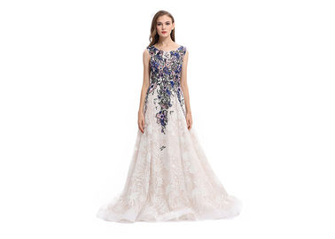 China Embroidery Organza Fabric Elegant Evening Gowns With Multi Color Options supplier