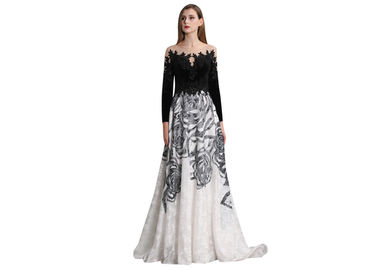 China Black And White Sweep Train Long Sleeve Evening Gowns For Autumn And Spring supplier