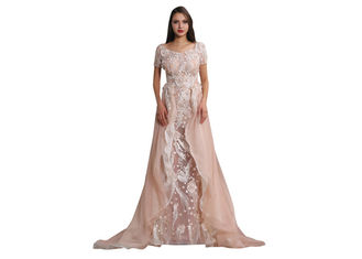 China Beauty Design Lace Wedding Dress , Short Sleeve Saudi Arabic Simple Wedding Dresses supplier